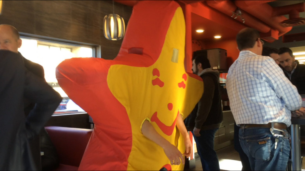 It's a cute star, but can you imagine what the poor person in that suit is going through?