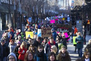Estimated 4,000 people attended the Calgary Women's March // Photo by Melanie Woods.