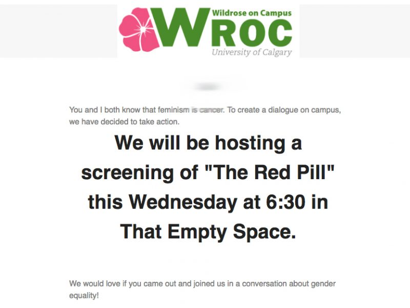 The email sent by the Wildrose on Campus club advertising a screening of the Red Pill on March 8th. //