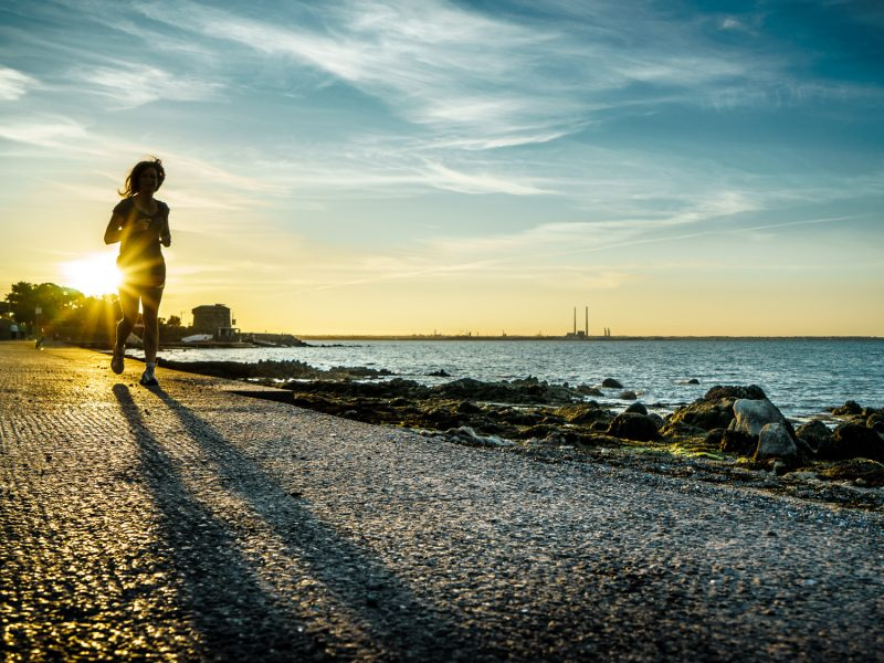 Running at sunset - Dublin, Ireland - Color street photography