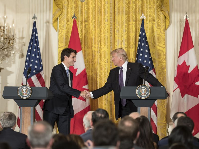 President Donald Trump and Canadian Prime Minister Justin Trudeau shake hands during a joint press conference, Monday, Feb. 13, 2017, in the East Room of the White House. (Official White House Photo by Shealah Craighead)